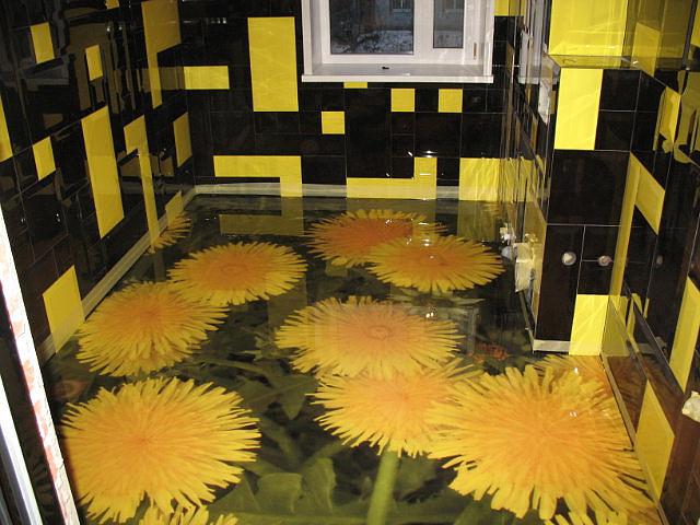 Наливные декоративные полы 3D представляют собой прозрачный полимер, который заливается на рисунок или изображение