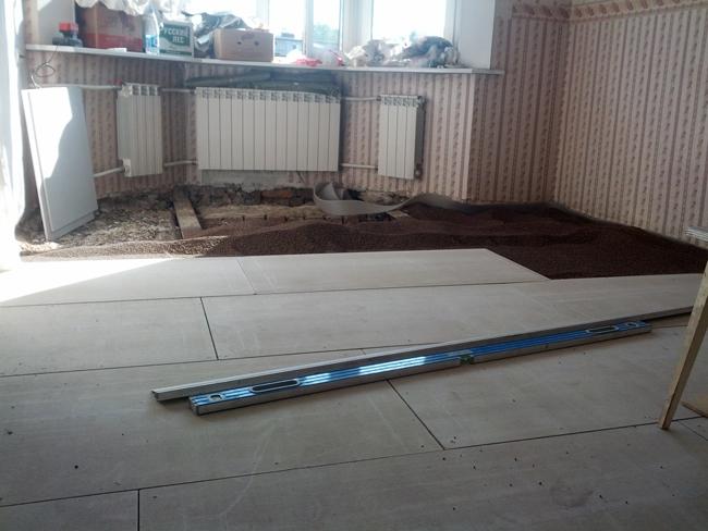 ГВЛ имеет ряд характеристик, благодаря которым его можно применять не только для отделки стен и потолков, но и для устройства полов