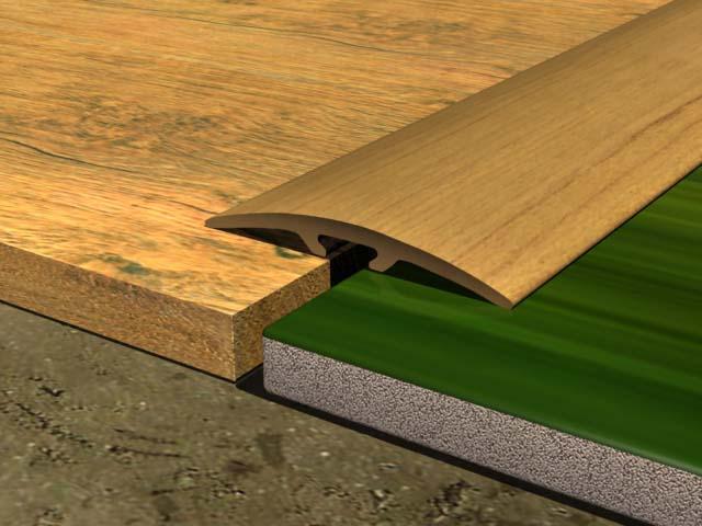 Между плиткой и ламинатом необходимо оставить зазор, равный по толщине устанавливаемому крепежному профилю с прибавкой пяти миллиметров