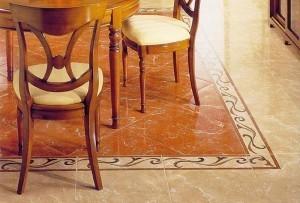 Текстура, а также фактура напольного покрытия в данной комнате должны гармонично вписываться в создаваемый интерьер