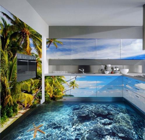 Необычный дизайн придаст кухне наливной 3d пол или покрытие из пробки, которое, к тому же, является звукопоглощающим