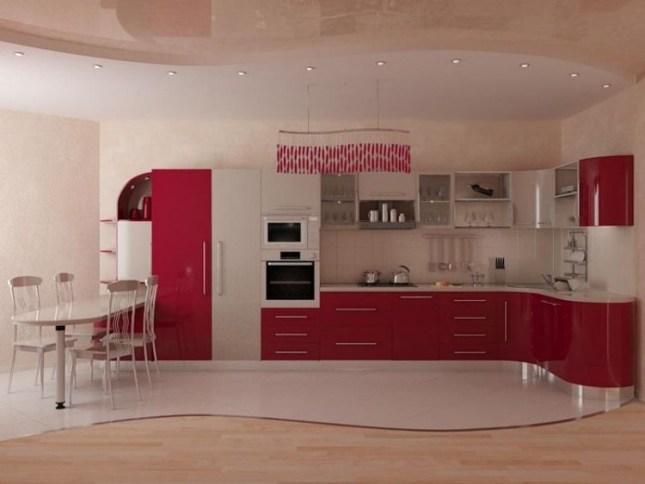 Очень выигрышным с точки зрения практичности и декора является вариант комбинированных полов в кухне