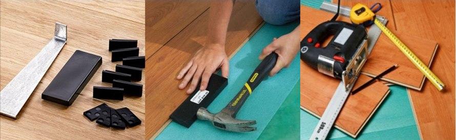 Проведение монтажных работ по укладке ламината предполагает не только подготовку поверхности, но и использование определенных инструментов