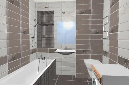 Горизонтальный способ укладки плитки визуально расширяет помещение. Не подходит для комнат с низким потолком