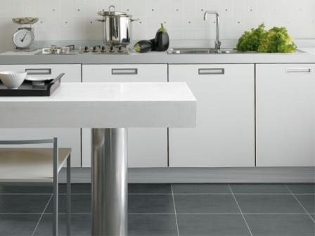 Керамогранит на кухню лучше выбирать нескользкий, без глянца