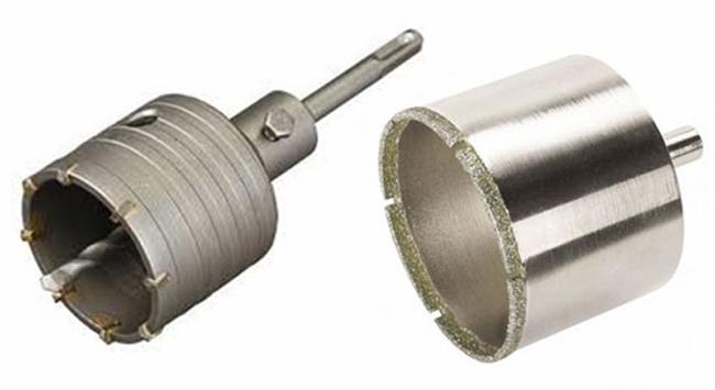 Короноки с алмазным напылением используются для сверления больших отверстий под смеситель, розетку