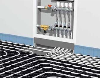 Так выглядит узел смешивания теплоносителя системы теплого водяного пола