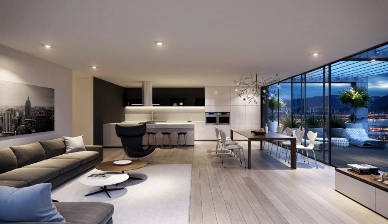 Ламинат серого цвета идеально подходит для интерьера в стиле хай-тек