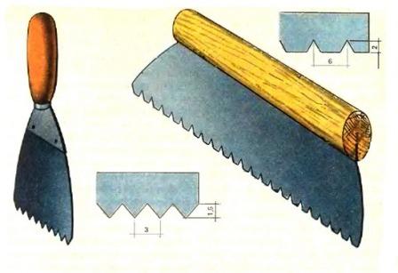 Зубчатые шпатели для нанесения и разравнивания клея для линолеума