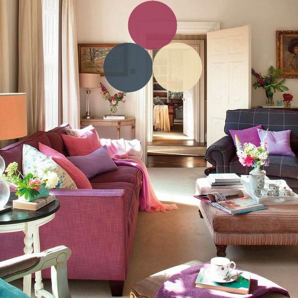 Как сочетать три цвета в гостиной, правило 60/30/10 в палитрах
